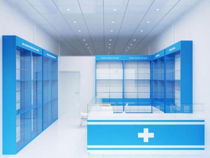 Tủ thuốc với màu xanh chủ đạo vô cùng bắt mắt