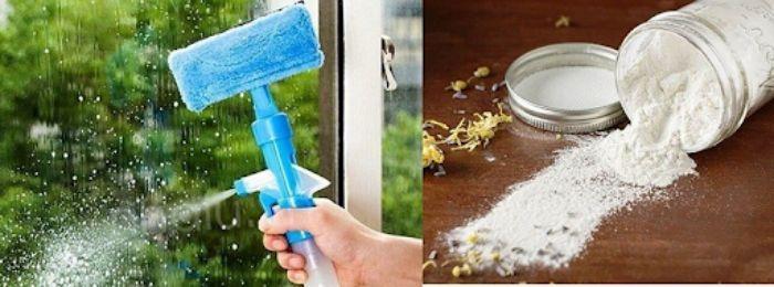 Thạch cao, bột băng phiến dùng để làm sạch mặt kính