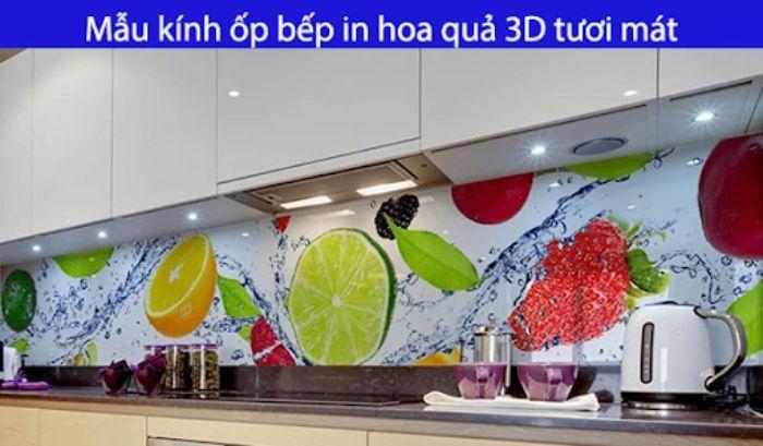 Kính ốp trong bếp hình ảnh hoa quả tươi sắc