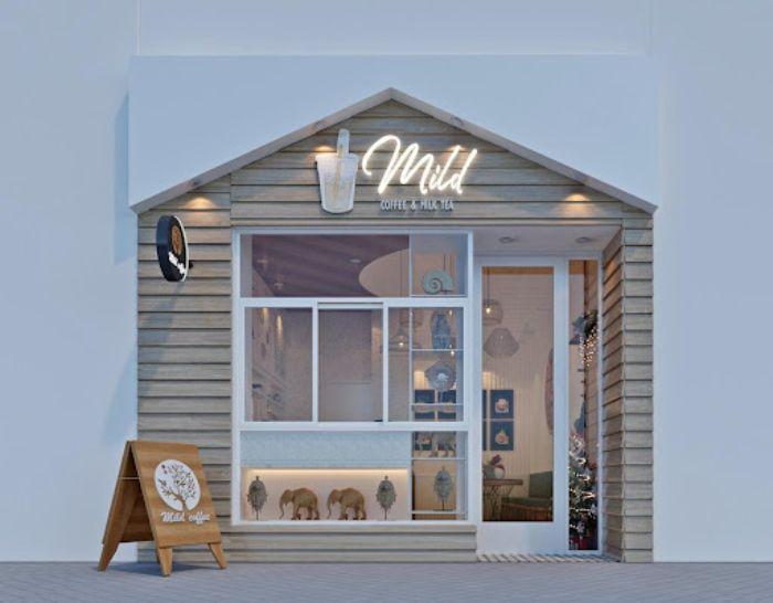 Mẫu thiết kế cửa nhôm kính đẹp cho mặt tiền tiệm trà sữa