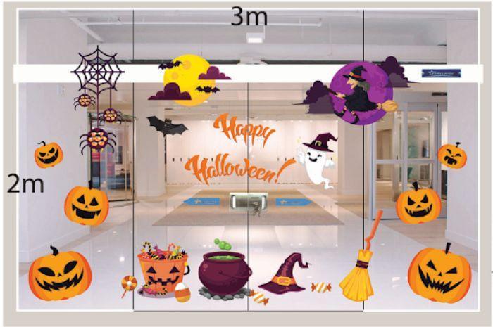 Mẫu dán hình Halloween trên cửa kính trong lớp mầm non