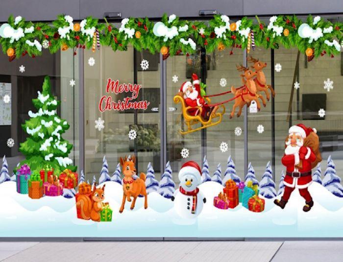 Mẫu trang trí cửa kính với hình ngày lễ Noel đáng yêu