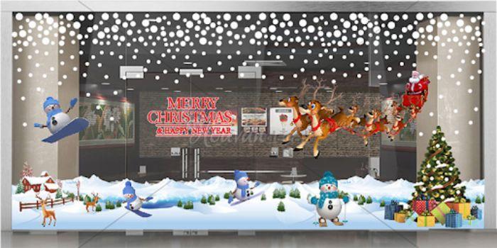 Trang trí cửa kính với decal đón Noel