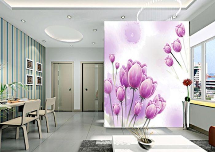 Vách ngăn kính 3D hình hoa tulip lãng mạn